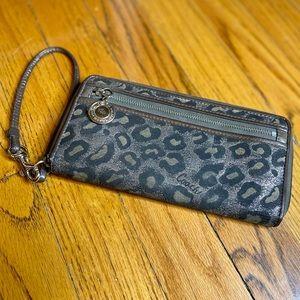 Coach Ocelot Bronze/Black Long Zip Around Wallet!